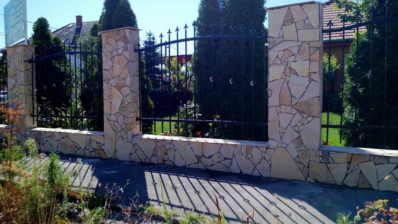 laposkő kerítés